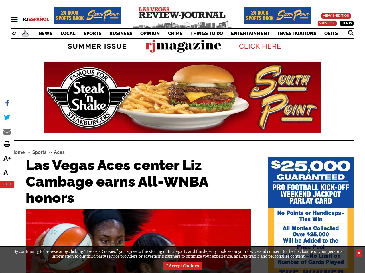 Las Vegas Aces center Liz Cambage earns All-WNBA honors