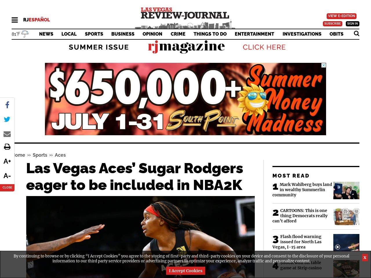 Las Vegas Aces' Sugar Rodgers eager to be included in NBA2K