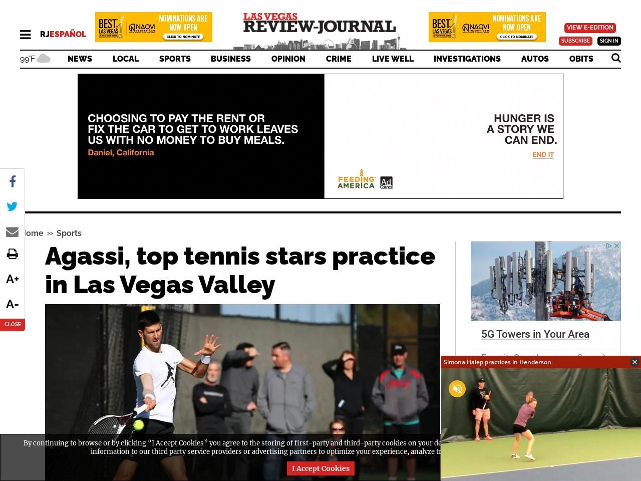 Agassi, top tennis stars practice in Las Vegas Valley