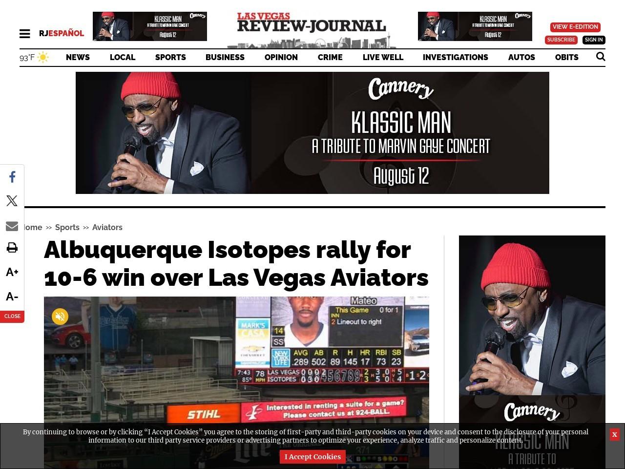 Albuquerque Isotopes rally for 10-6 win over Las Vegas Aviators