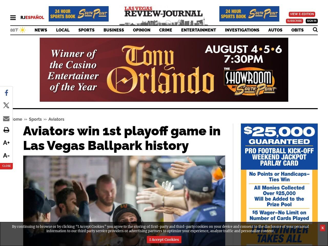 Aviators win 1st playoff game in Las Vegas Ballpark history