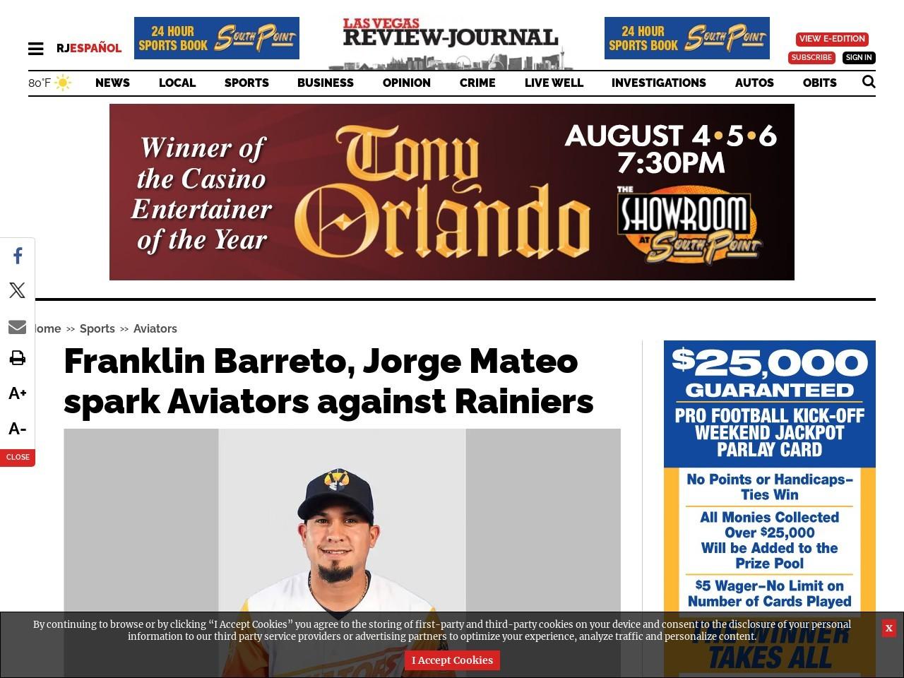 Franklin Barreto, Jorge Mateo spark Aviators against Rainiers