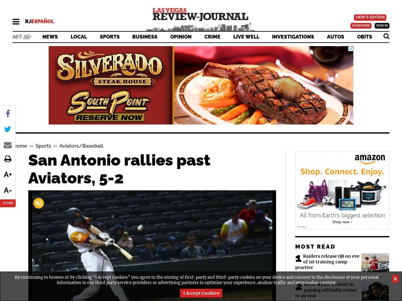 San Antonio rallies past Aviators, 5-2