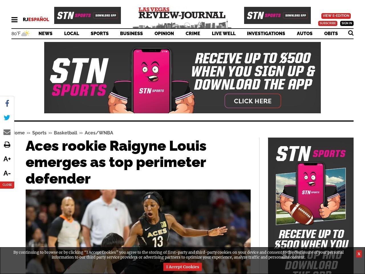 Aces rookie Raigyne Louis emerges as top perimeter defender
