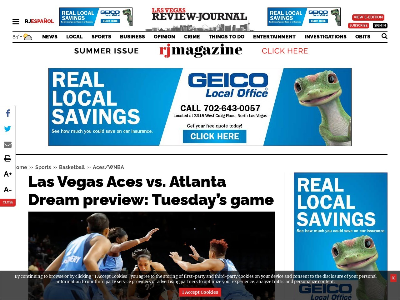 Las Vegas Aces vs. Atlanta Dream preview: Tuesday's game
