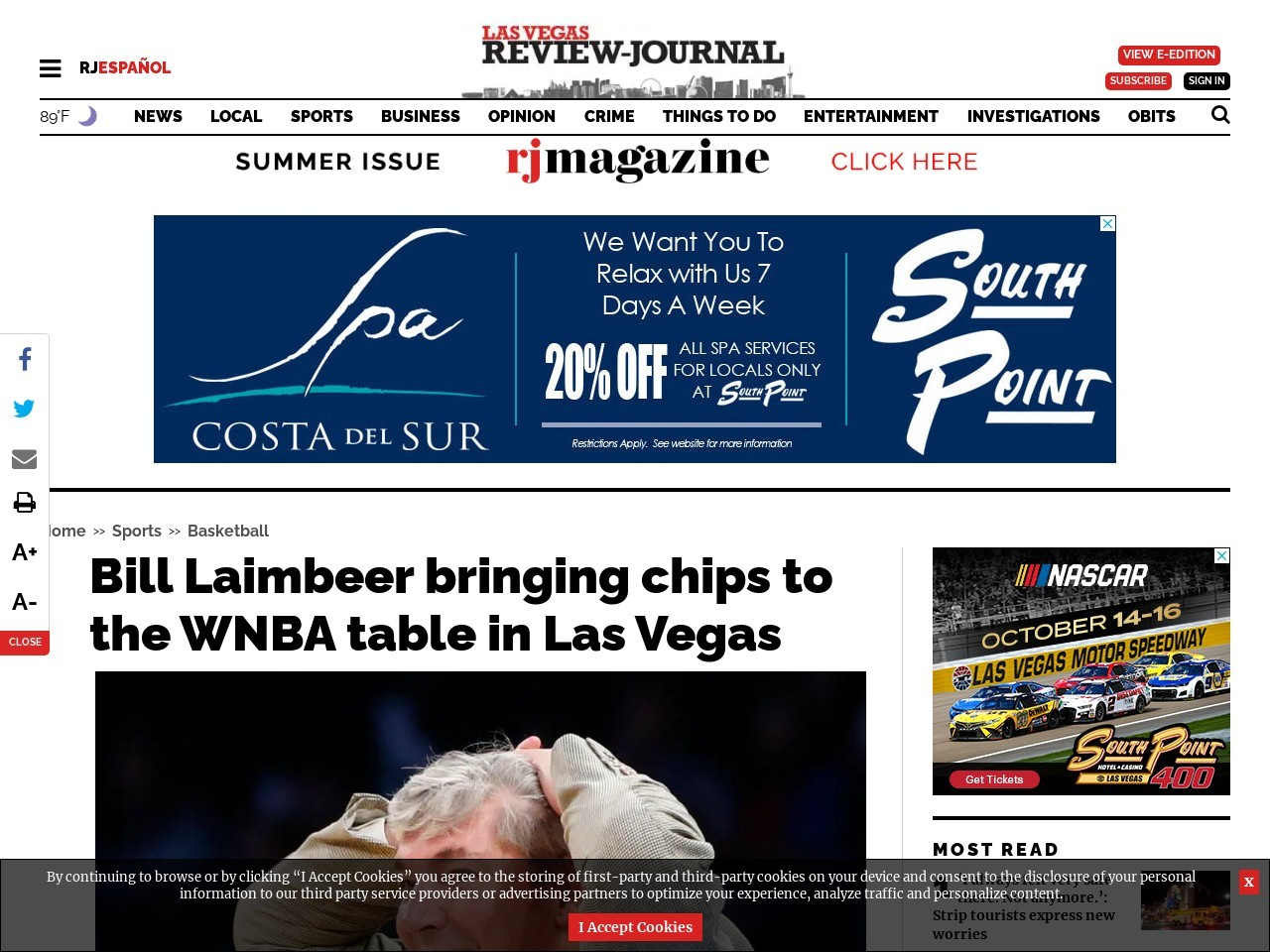 Bill Laimbeer bringing chips to the WNBA table in Las Vegas