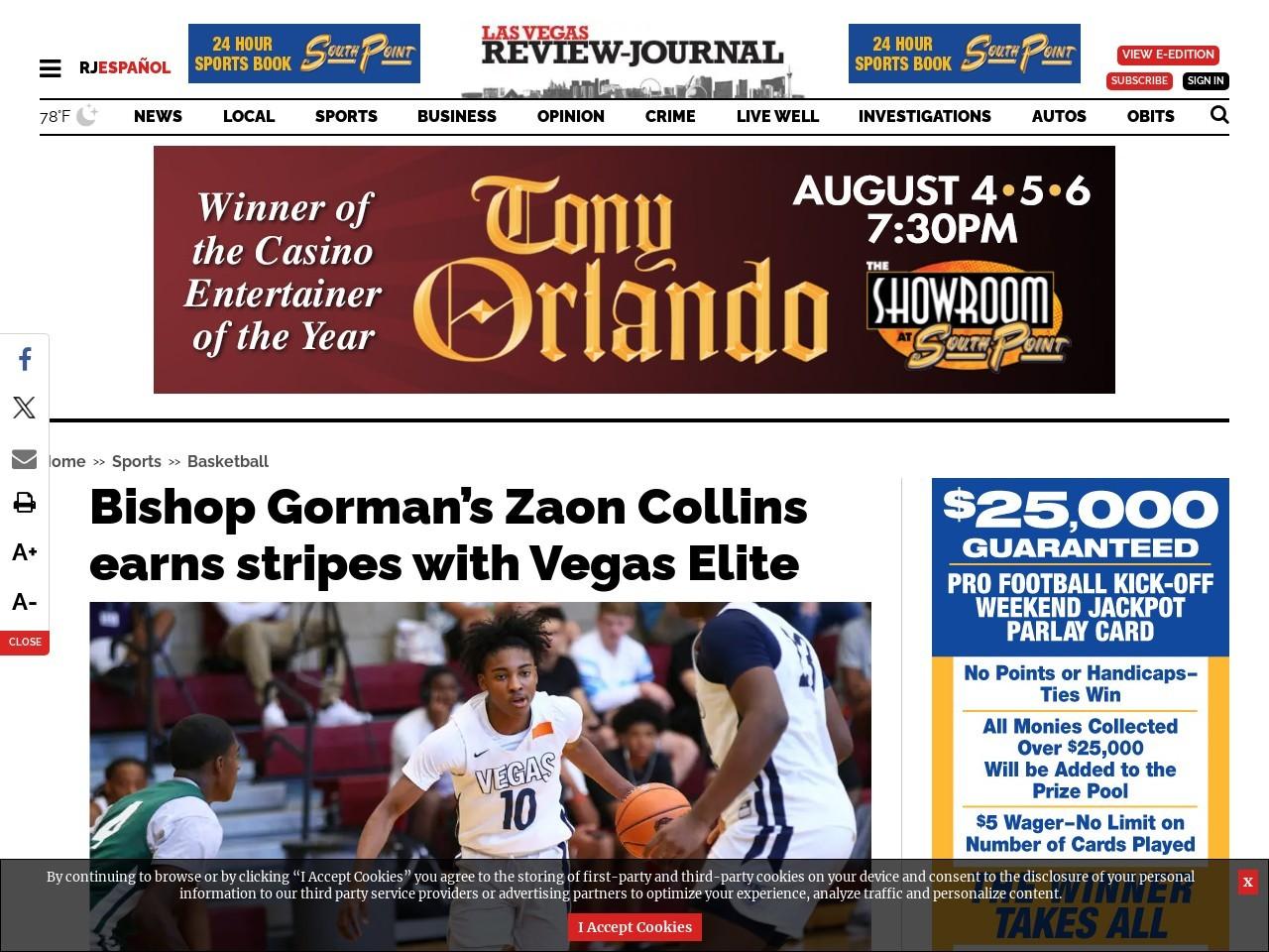 Bishop Gorman's Zaon Collins earns stripes with Vegas Elite