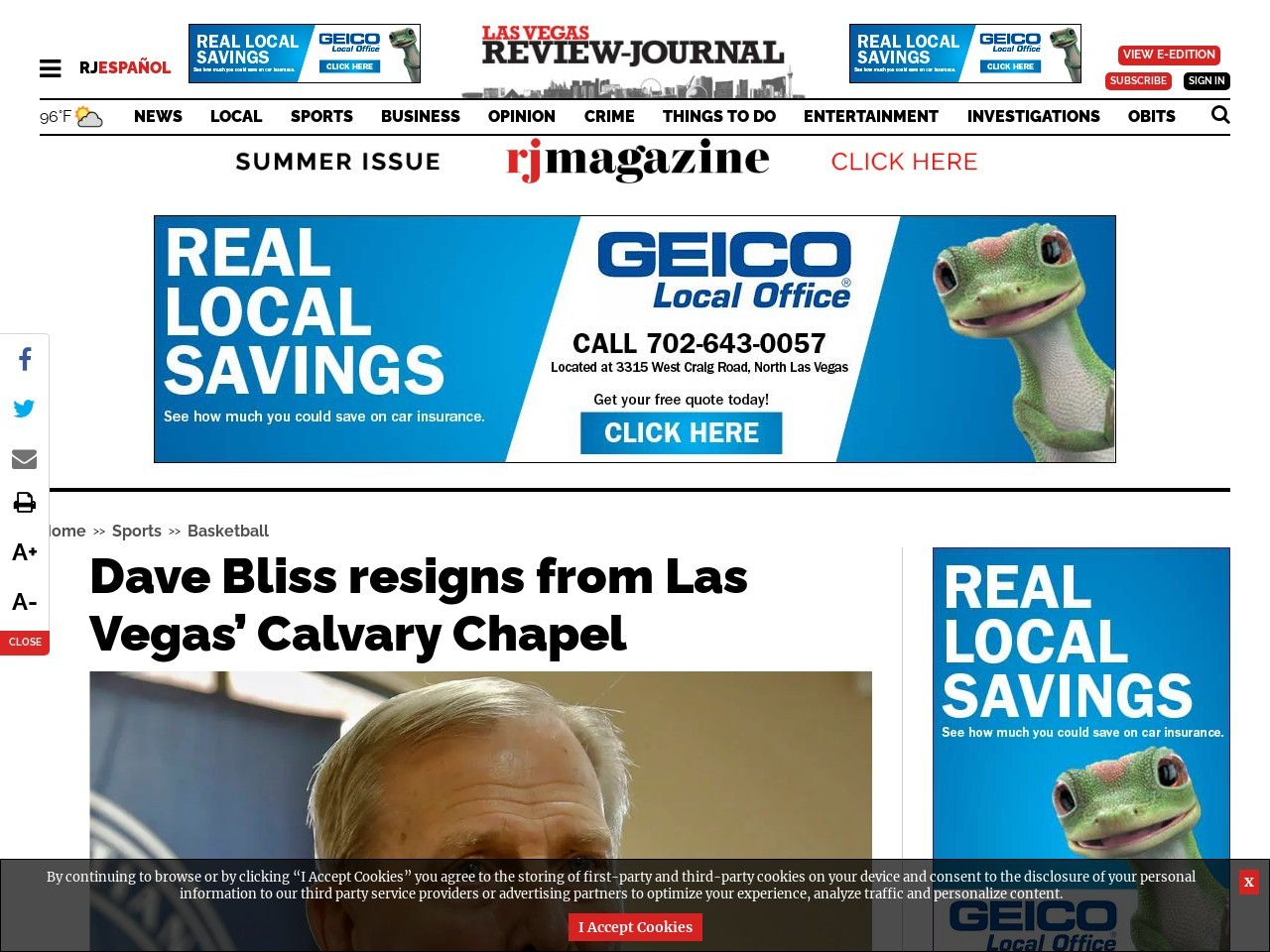Dave Bliss resigns from Las Vegas' Calvary Chapel