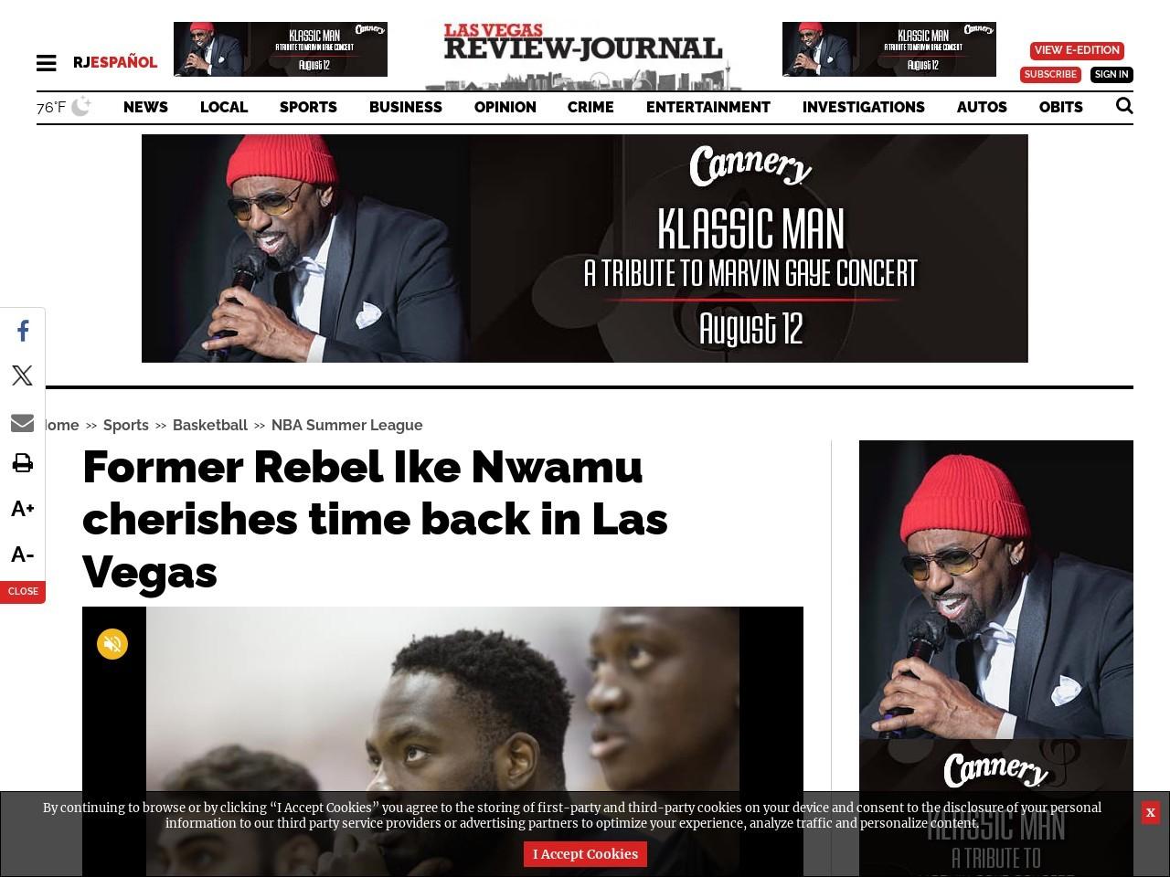 Former Rebel Ike Nwamu cherishes time back in Las Vegas