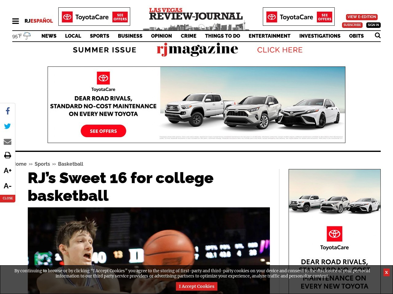 RJ's Sweet 16 for college basketball