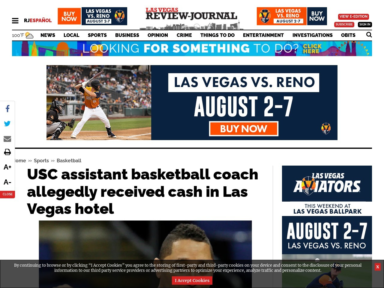 USC assistant basketball coach allegedly received cash in Las Vegas hotel