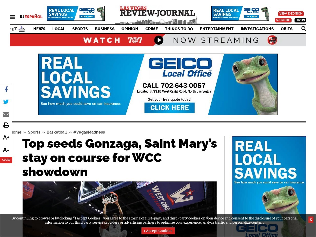 Top seeds Gonzaga, Saint Mary's stay on course for WCC showdown