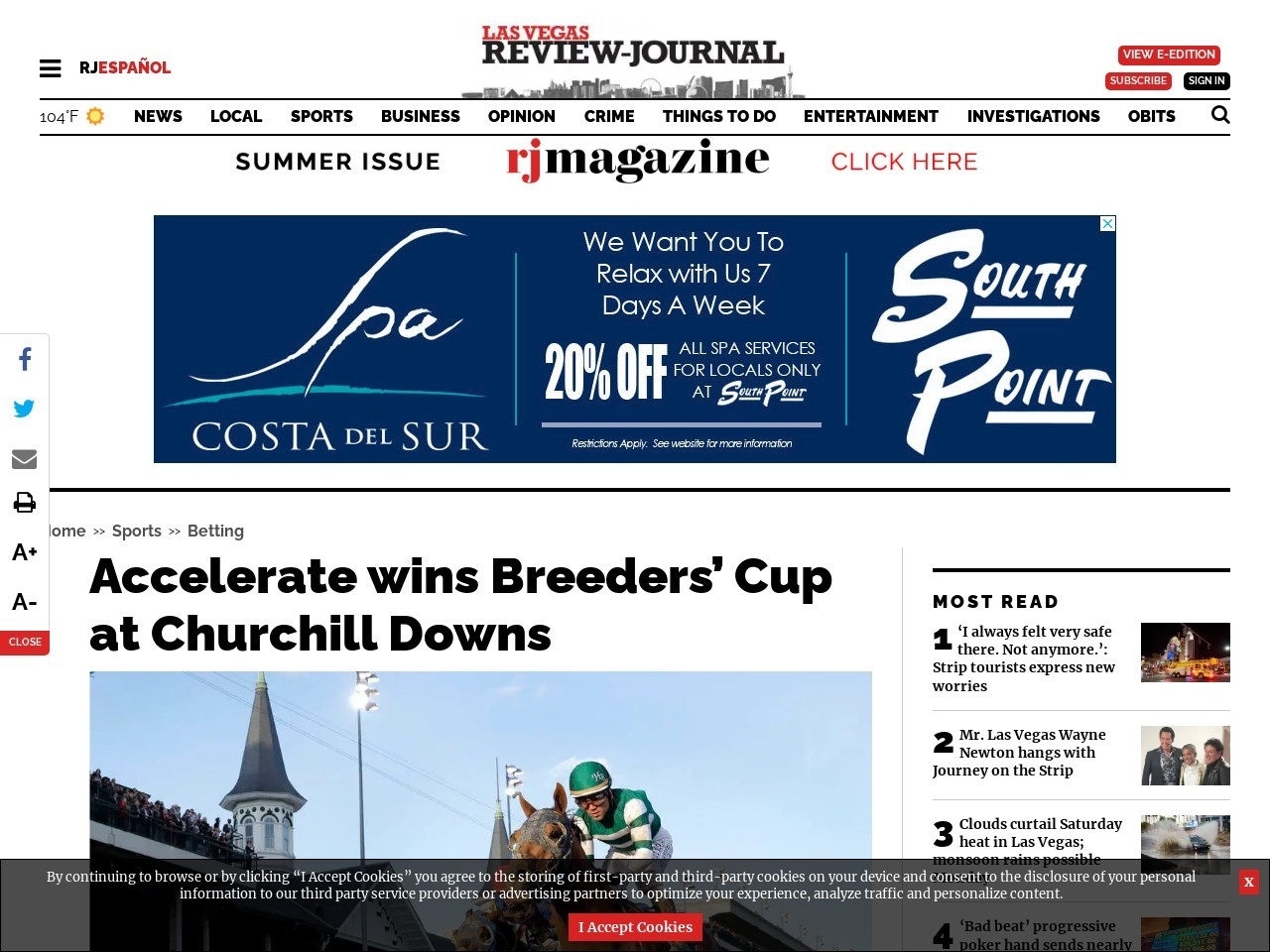 Accelerate wins Breeders' Cup at Churchill Downs