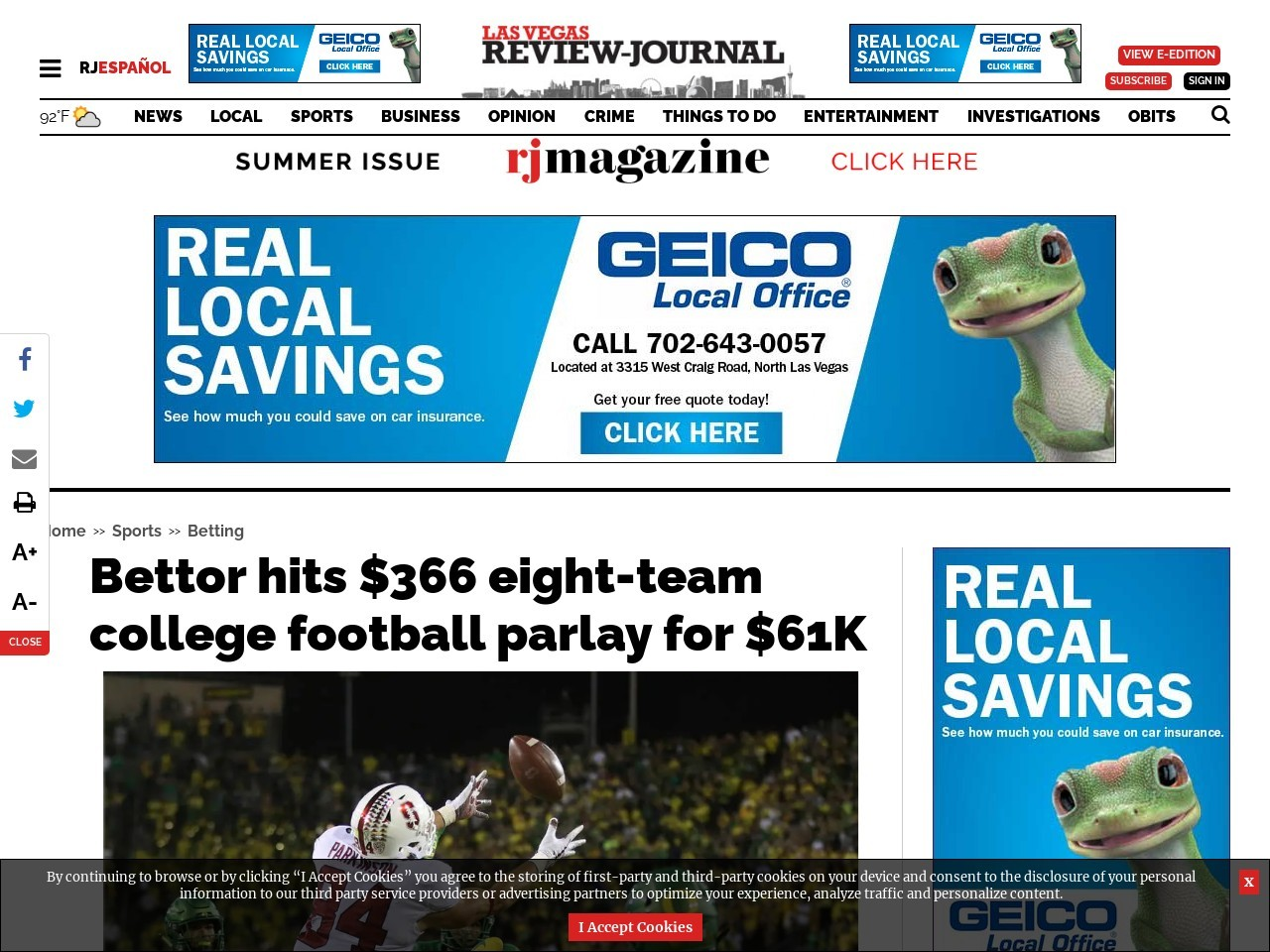 Bettor hits $366 eight-team college football parlay for $61K