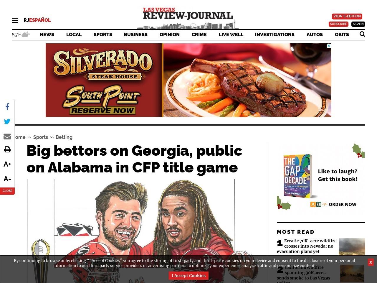 Big bettors on Georgia, public on Alabama in CFP title game