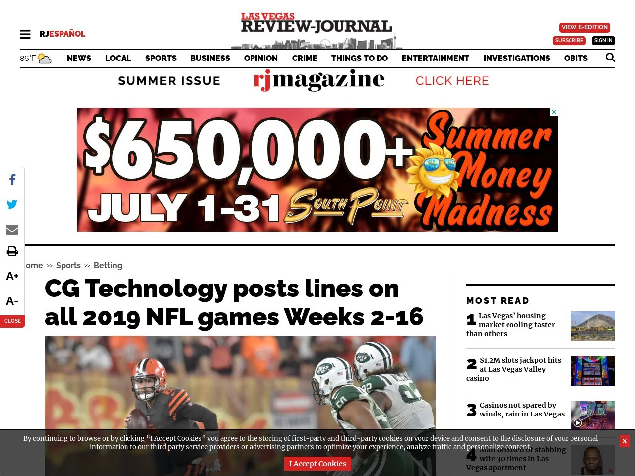 CG Technology posts lines on all 2019 NFL games Weeks 2-16
