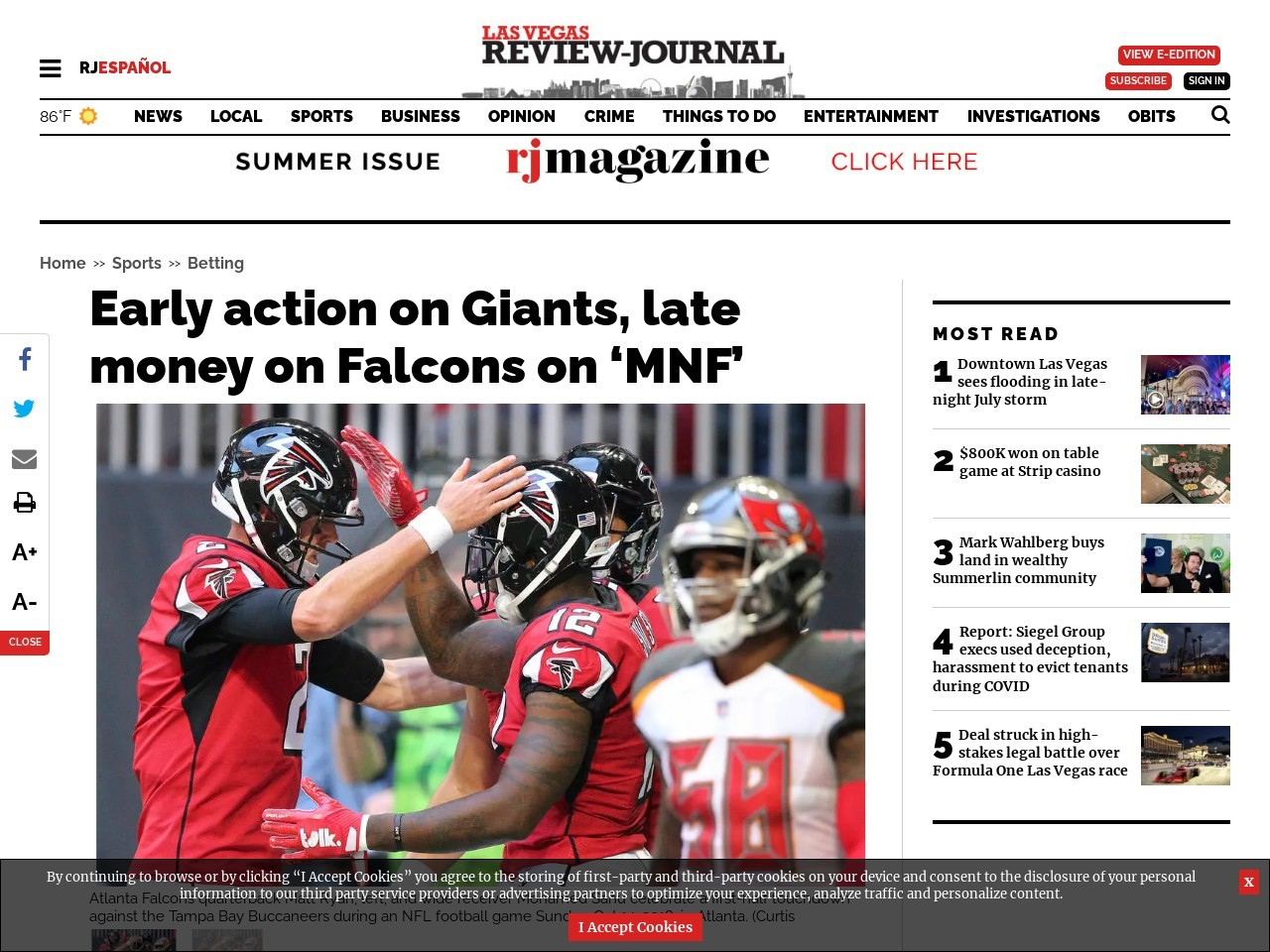 Early action on Giants, late money on Falcons on 'MNF'