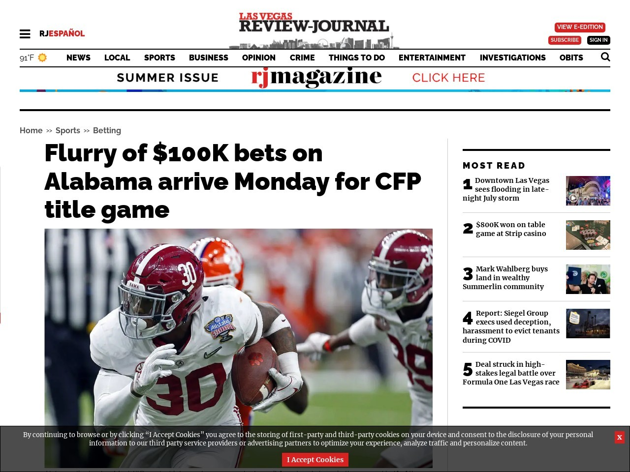 Flurry of $100K bets on Alabama arrive Monday for CFP title game