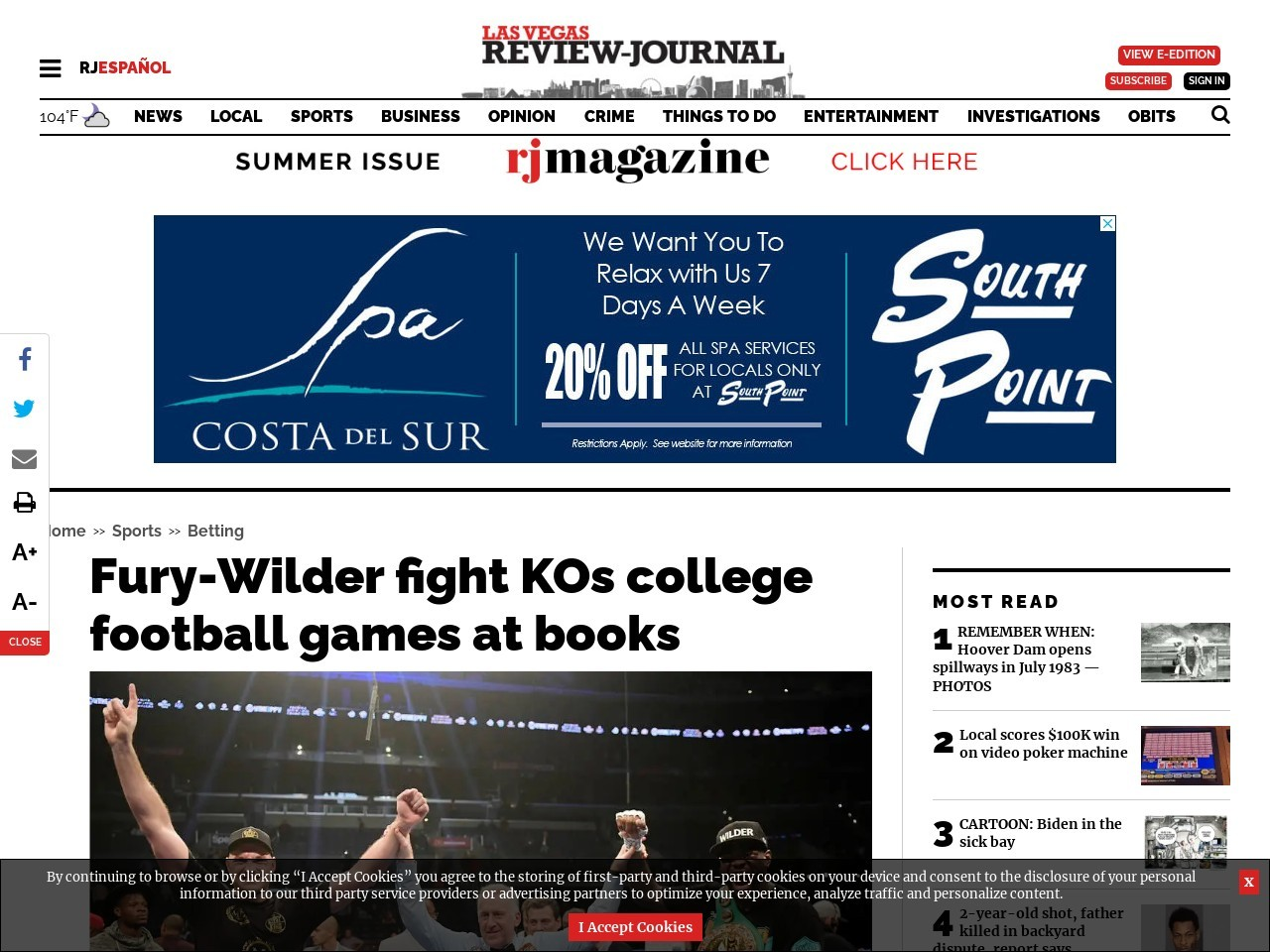 Fury-Wilder fight KOs college football games at books