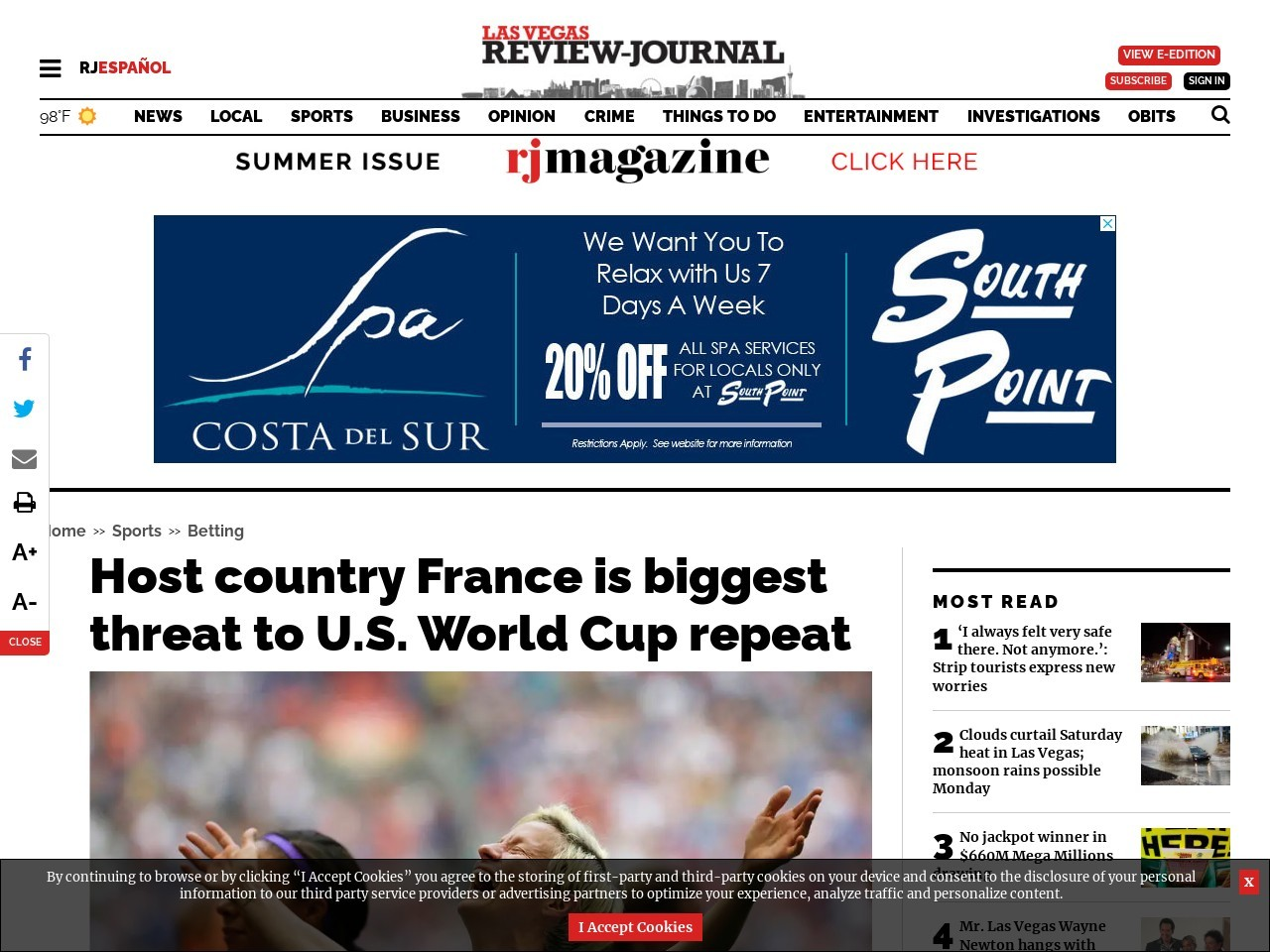 Host country France is biggest threat to U.S. World Cup repeat