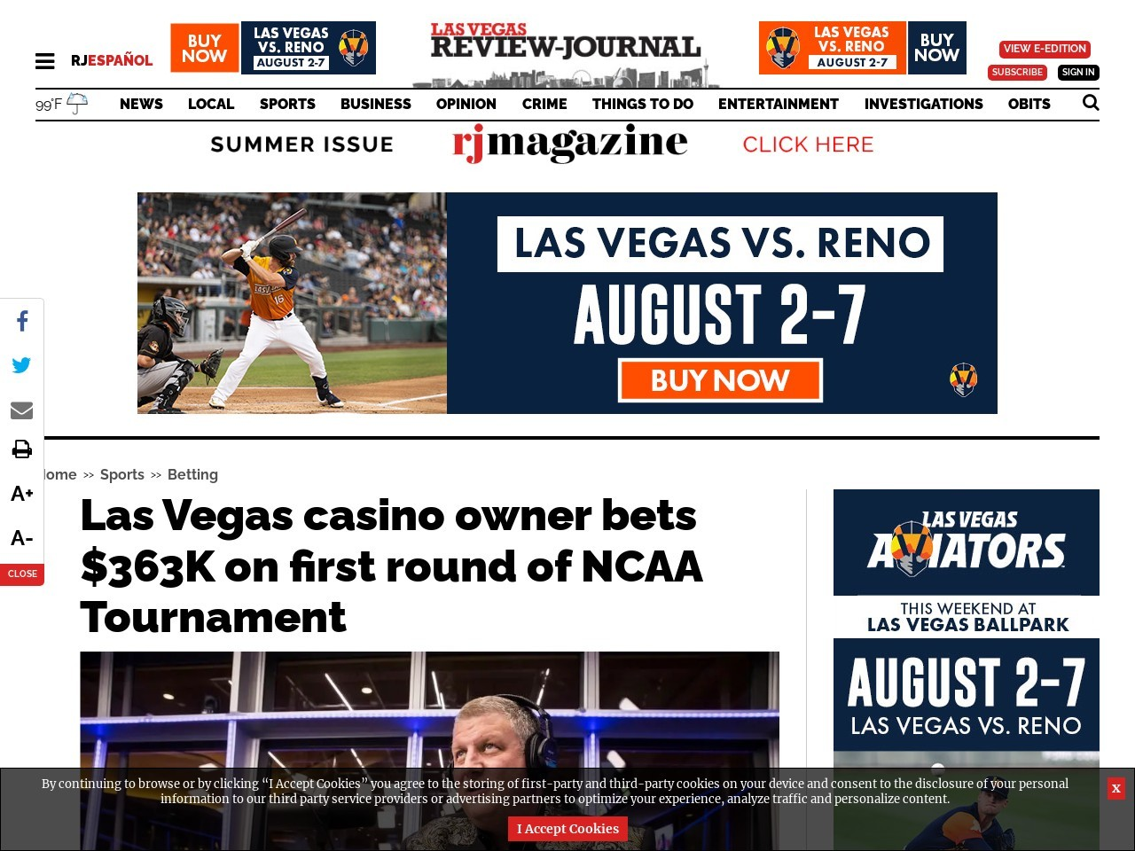 Las Vegas casino owner bets $363K on first round of NCAA Tournament