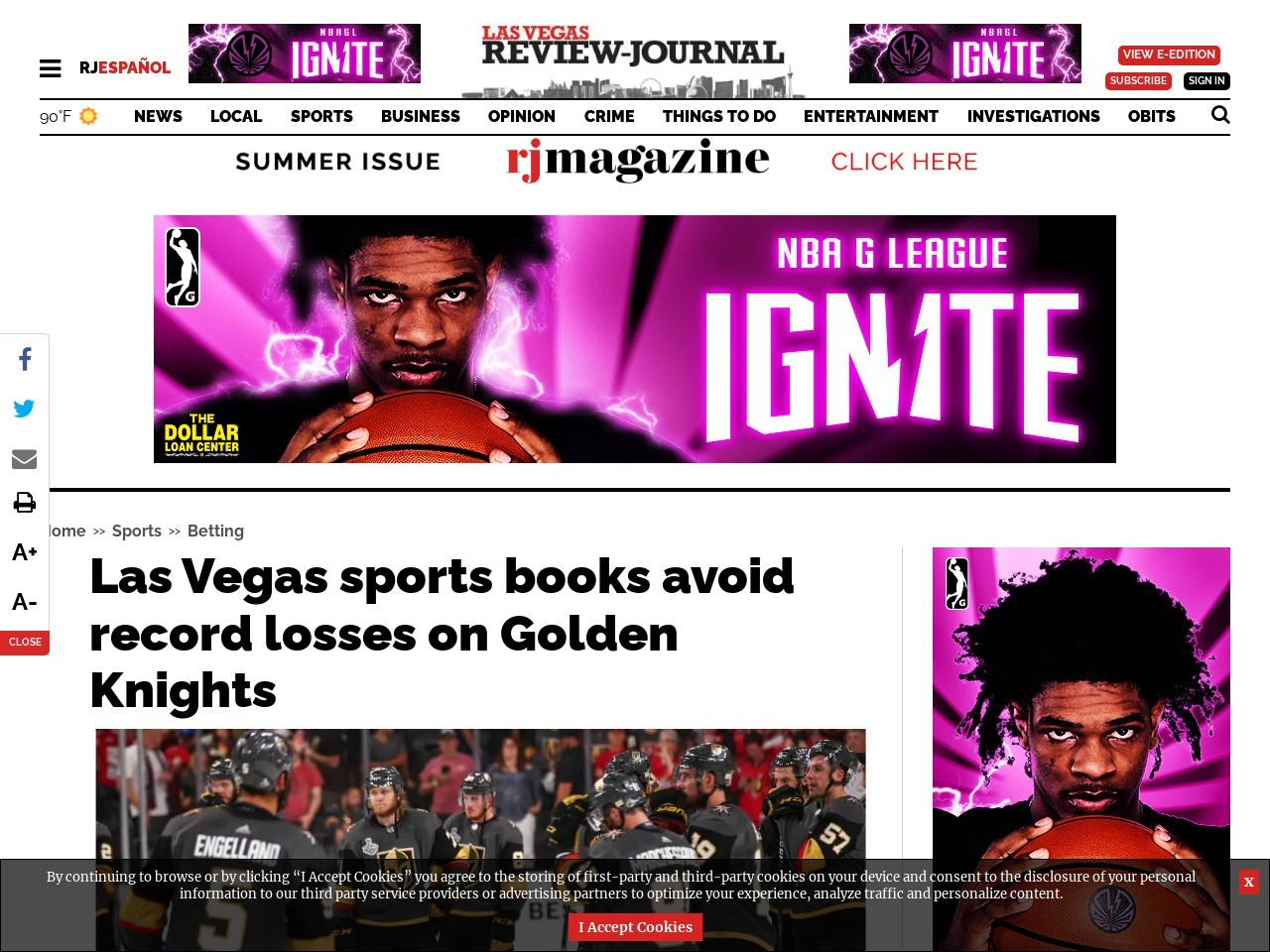 Las Vegas sports books avoid record losses on Golden Knights