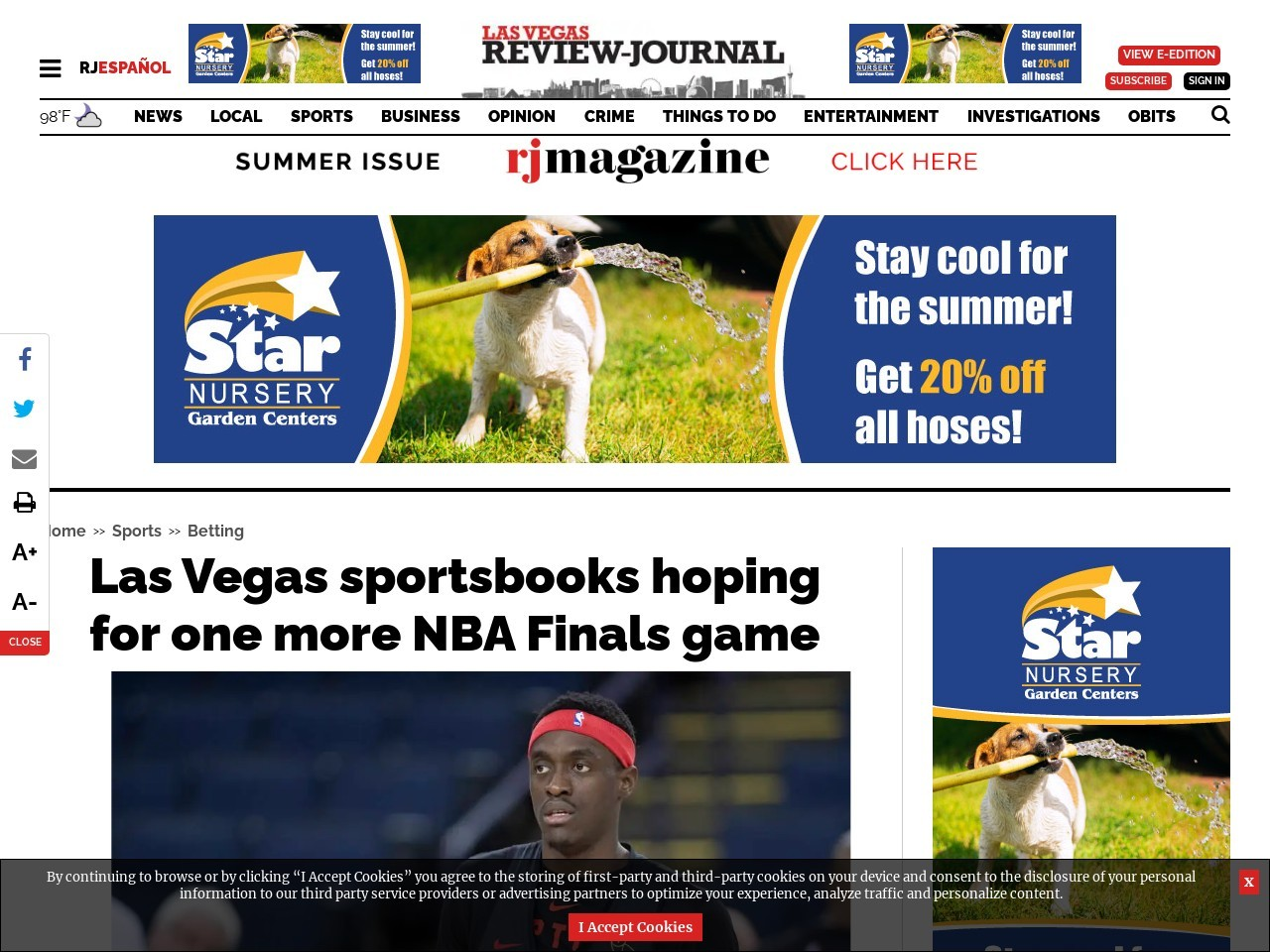 Las Vegas sportsbooks hoping for one more NBA Finals game
