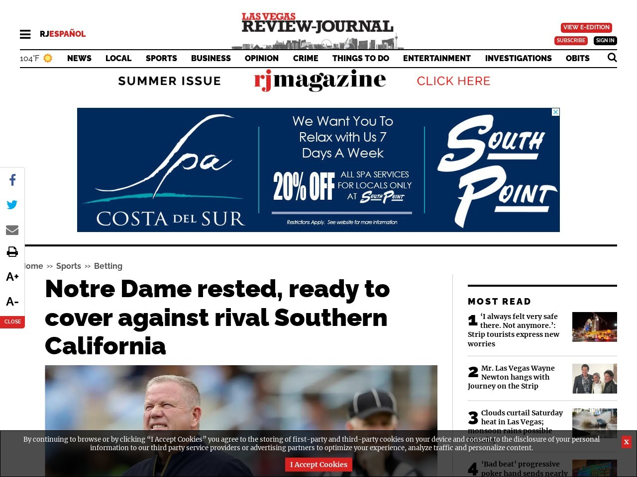 Notre Dame rested, ready to cover against rival Southern California