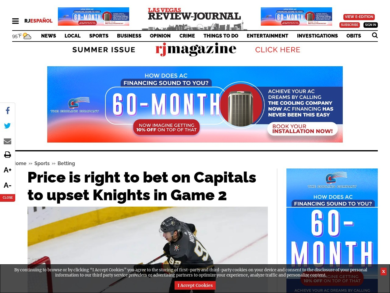 Price is right to bet on Capitals to upset Knights in Game 2