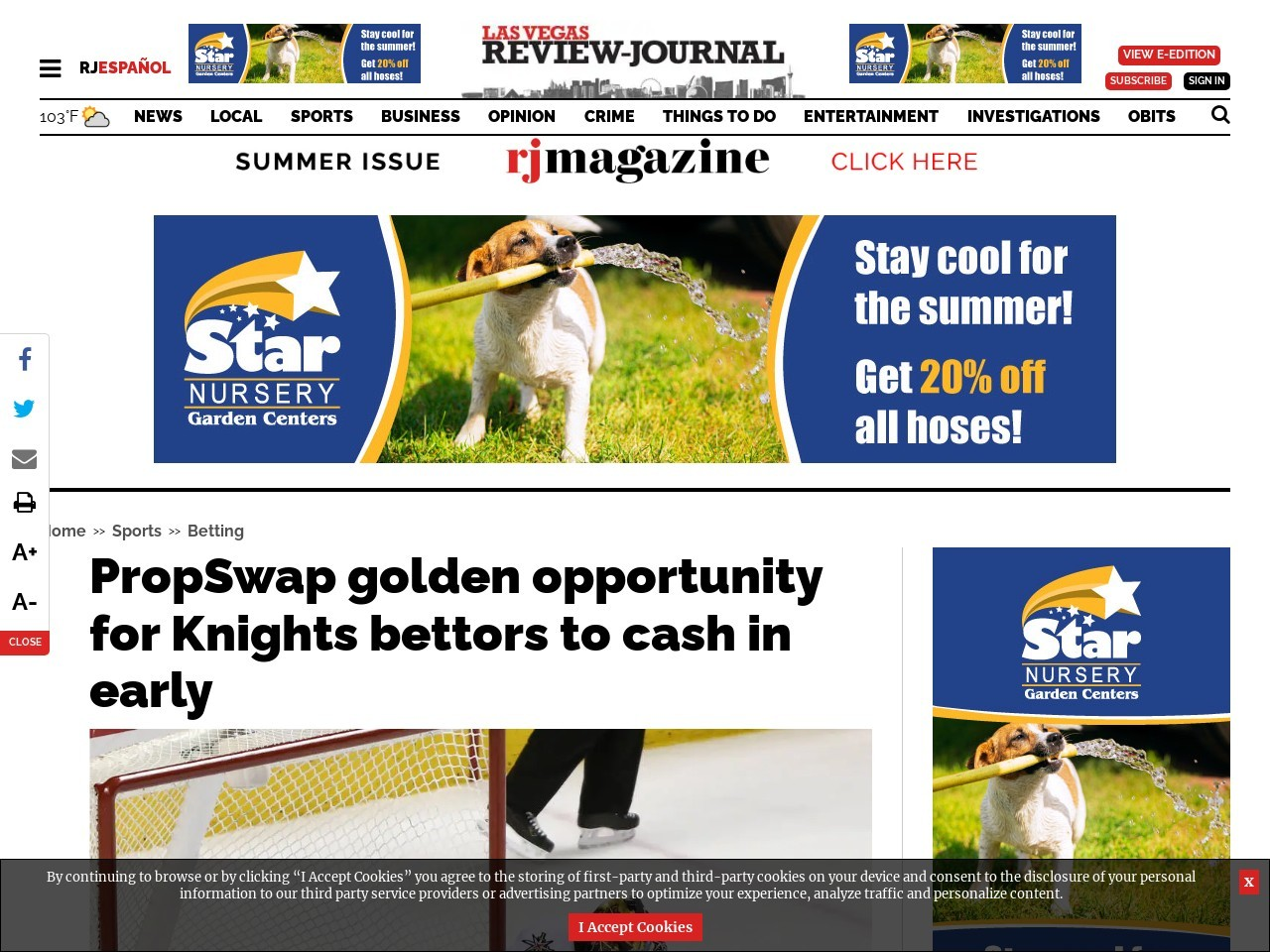PropSwap golden opportunity for Knights bettors to cash in early