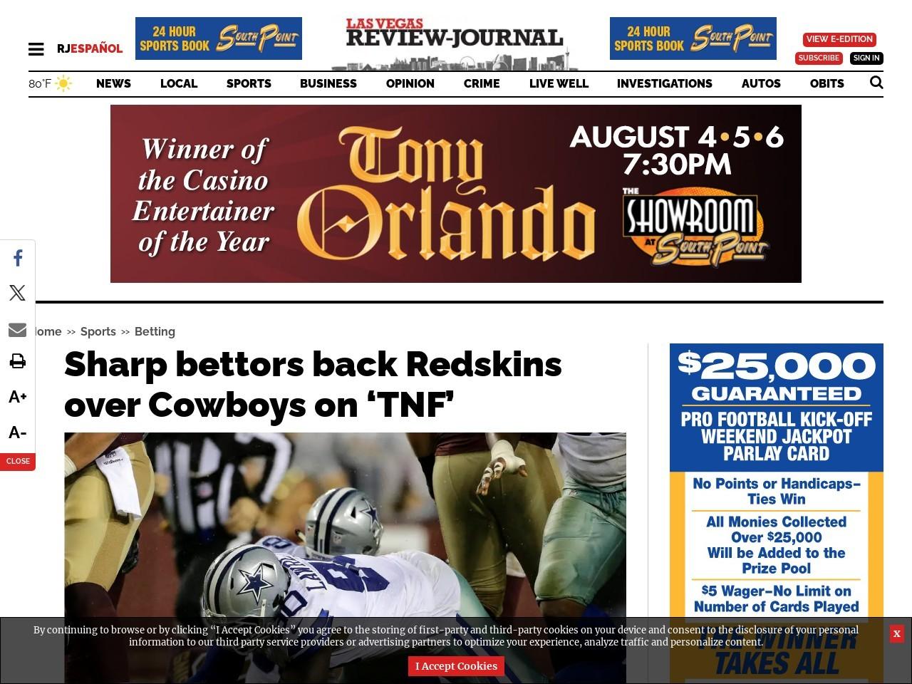 Sharp bettors back Redskins over Cowboys on 'TNF'