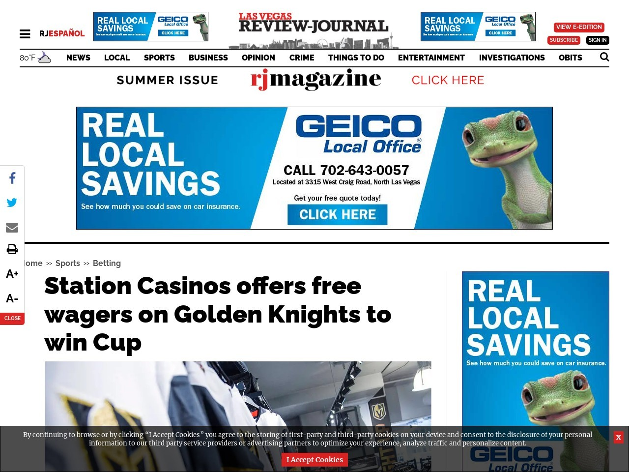 Station Casinos offers free wagers on Golden Knights to win Cup