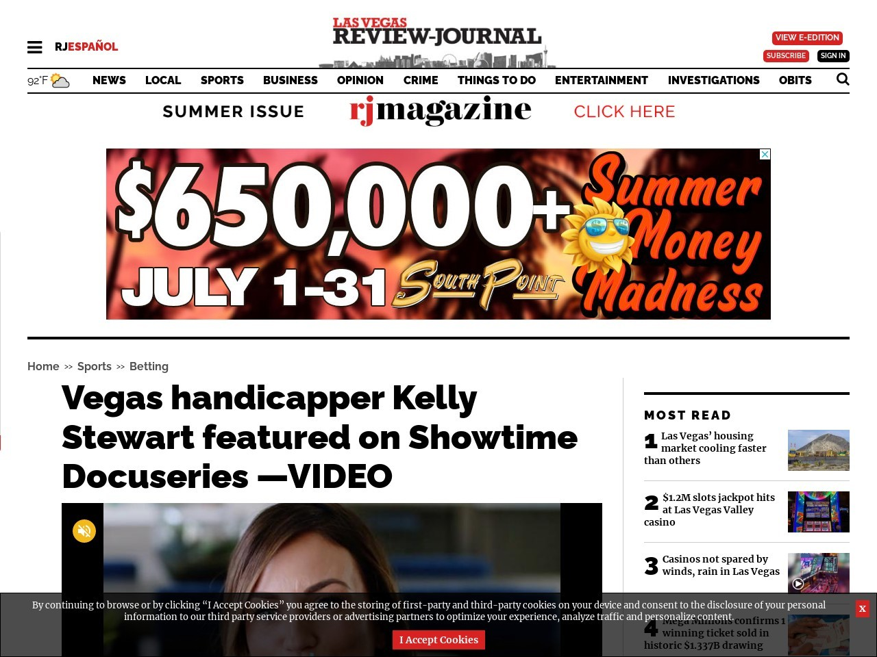 Vegas handicapper Kelly Stewart featured on Showtime Docuseries —VIDEO