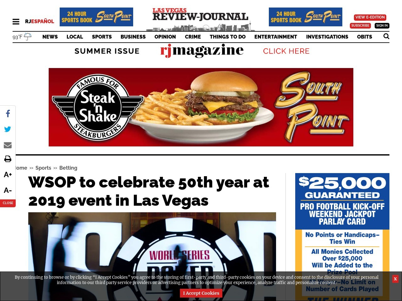 WSOP to celebrate 50th year at 2019 event in Las Vegas