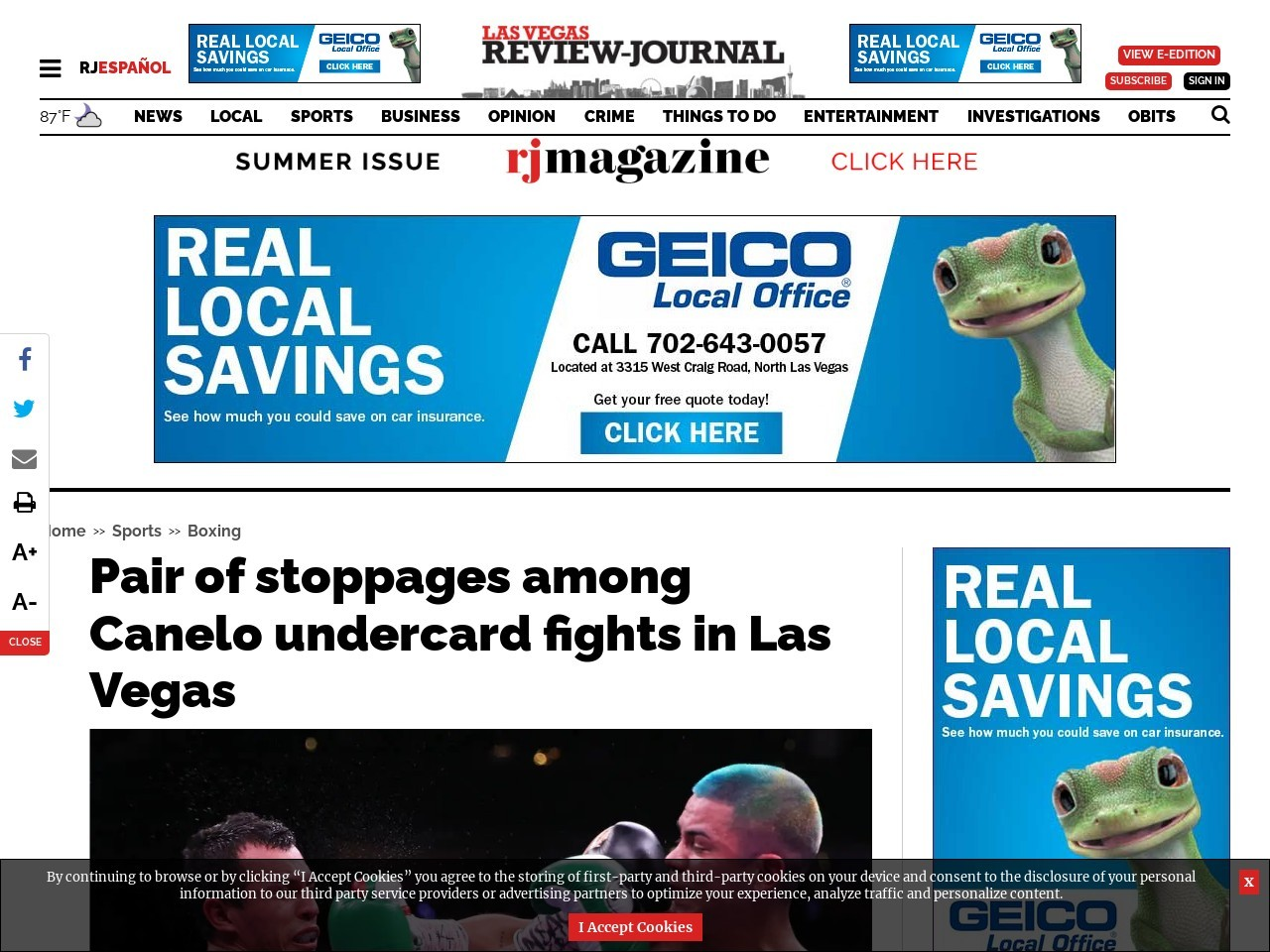 Pair of stoppages among Canelo undercard fights in Las Vegas