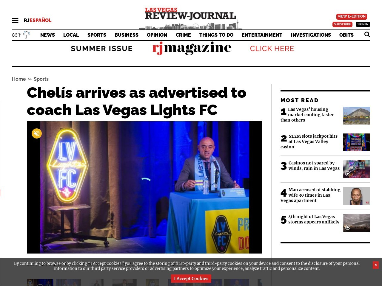 Chelís arrives as advertised to coach Las Vegas Lights FC