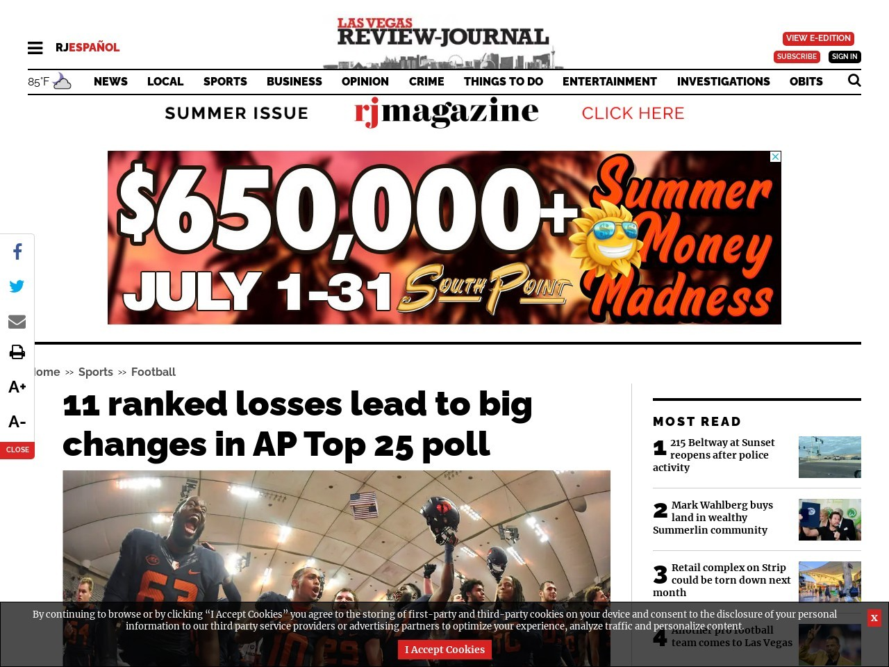11 ranked losses leads to big changes in AP Top 25 poll