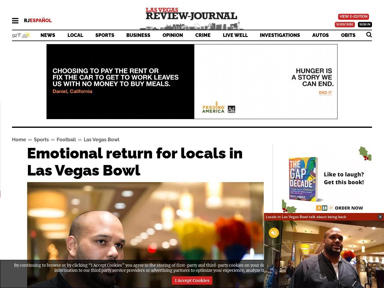 Emotional return for locals in Las Vegas Bowl