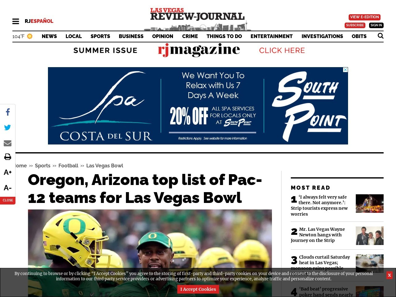 Oregon, Arizona top list of Pac-12 teams for Las Vegas Bowl