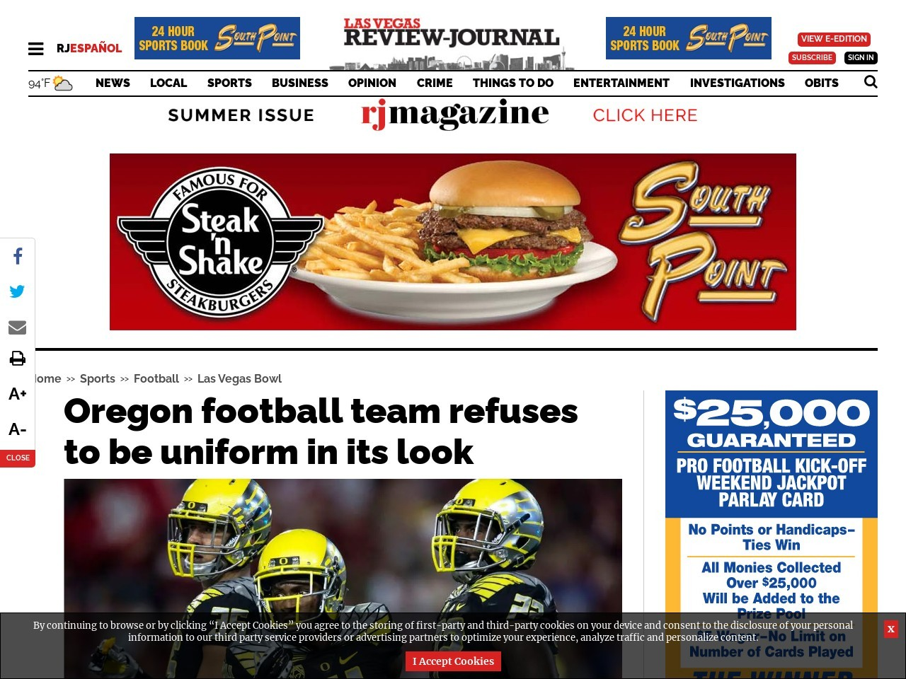 Oregon football team refuses to be uniform in its look