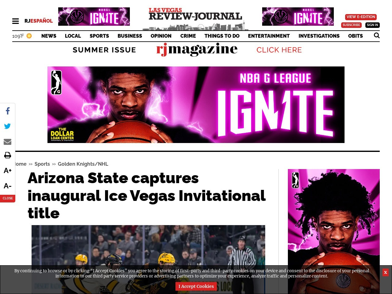 Arizona State captures inaugural Ice Vegas Invitational title