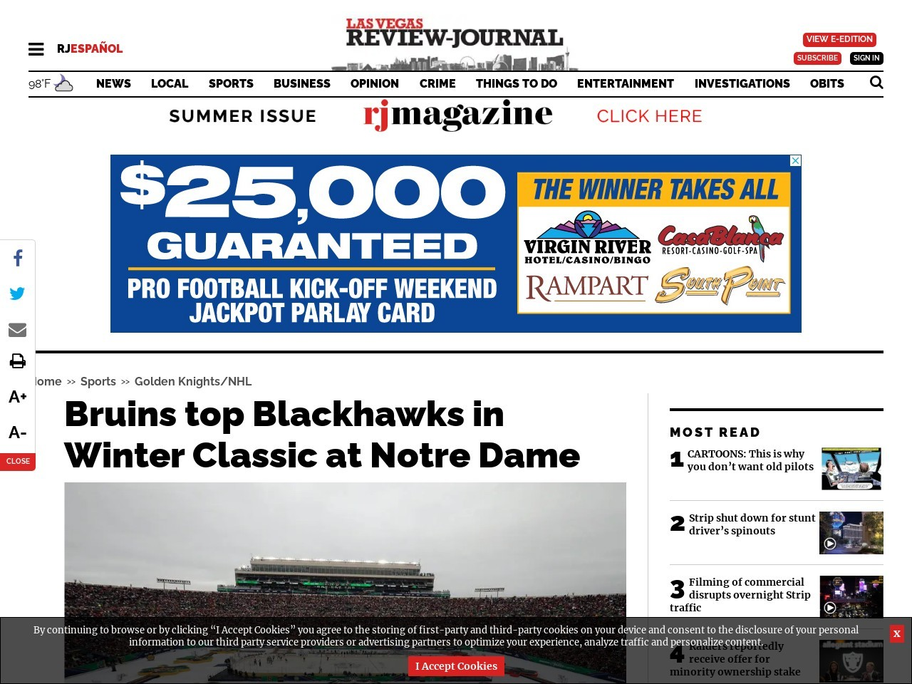 Bruins top Blackhawks in Winter Classic at Notre Dame