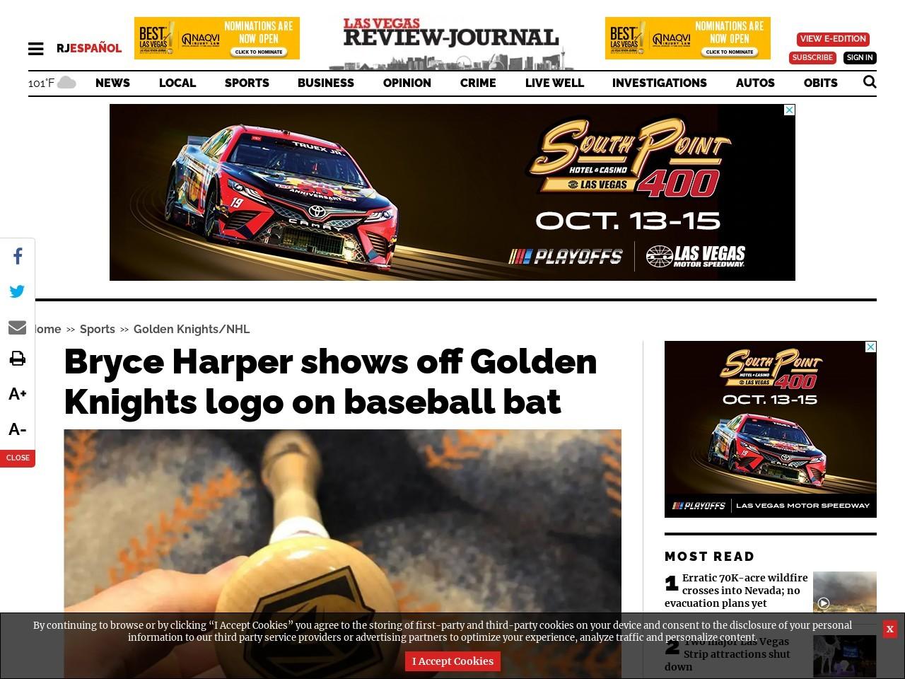 Bryce Harper shows off Golden Knights logo on baseball bat