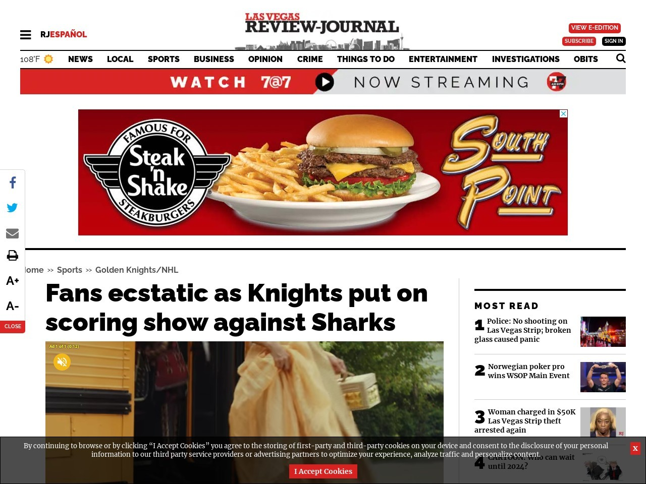 Fans ecstatic as Knights put on scoring show against Sharks
