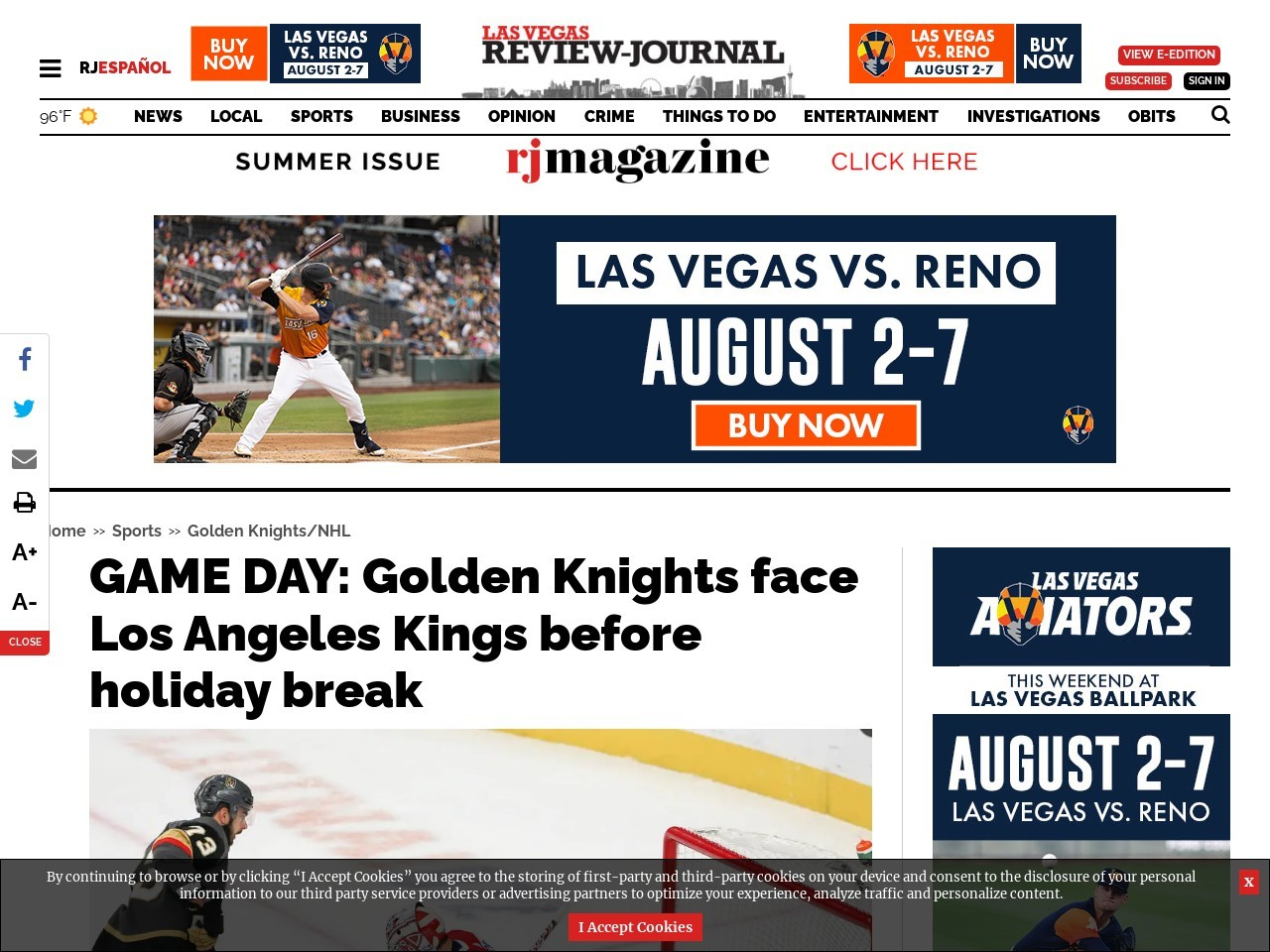 GAME DAY: Golden Knights face Los Angeles Kings before holiday break
