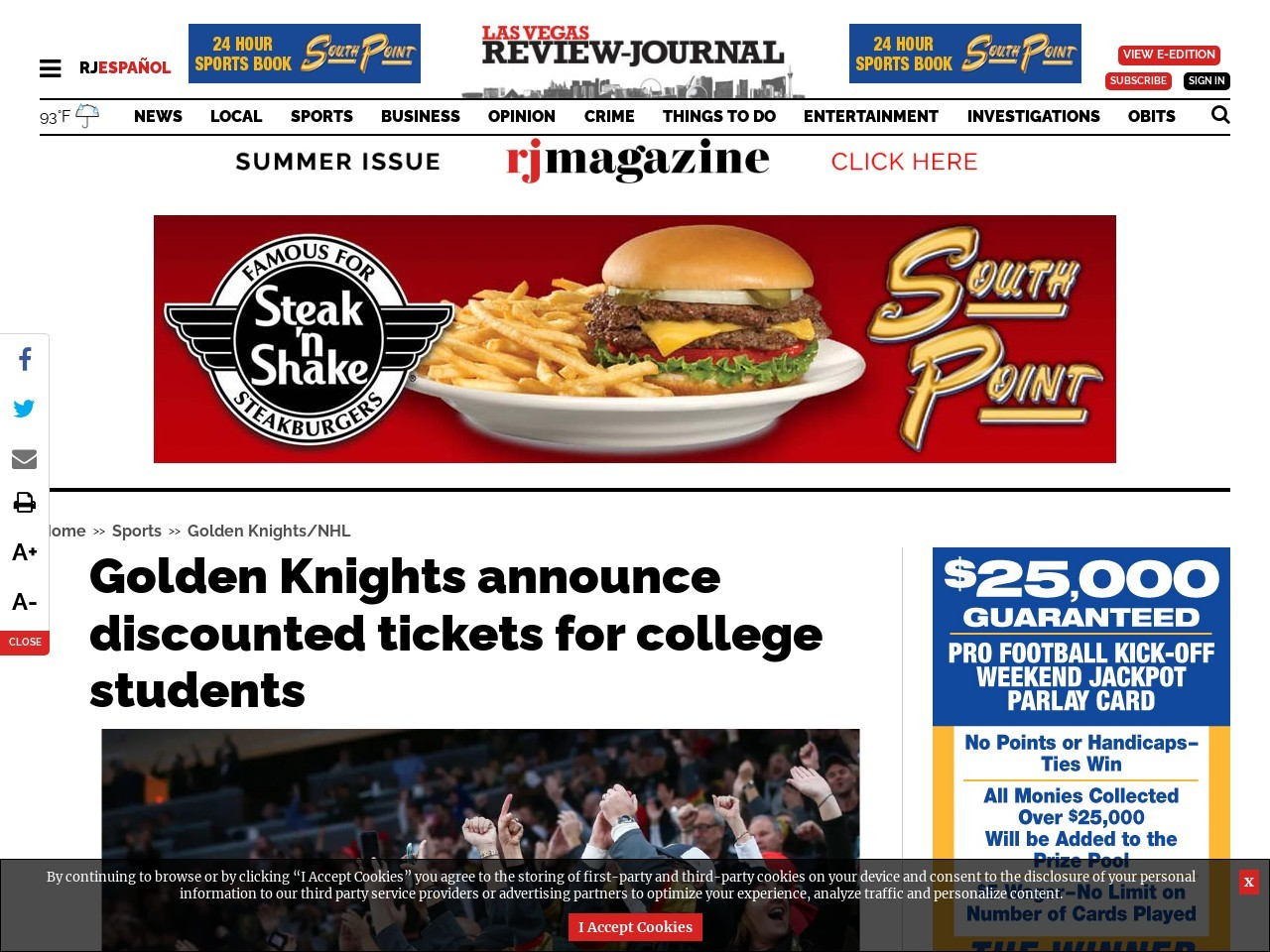 Golden Knights announce discounted tickets for college students