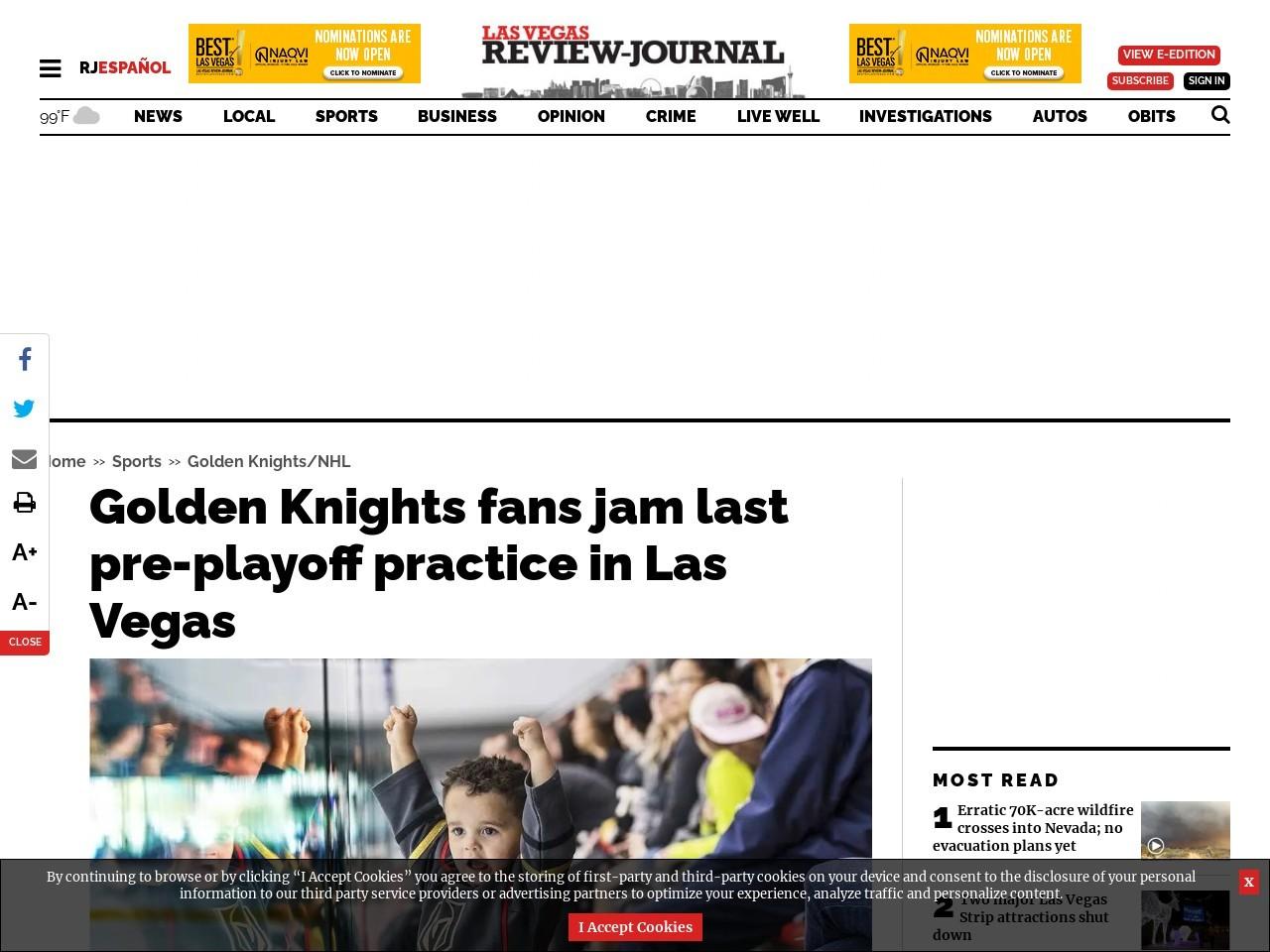 Golden Knights fans jam last pre-playoff practice in Las Vegas