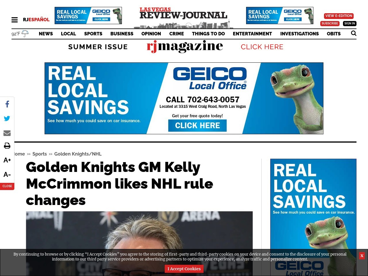 Golden Knights GM Kelly McCrimmon likes NHL rule changes