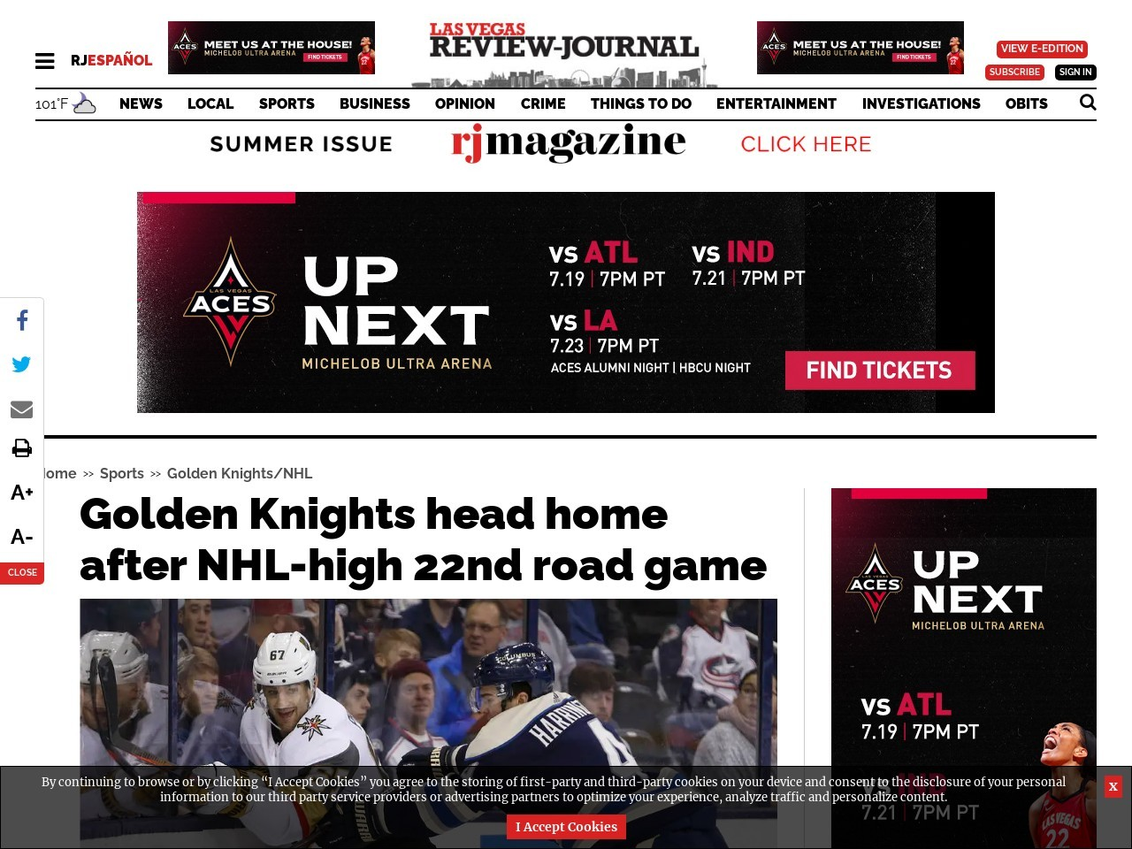 Golden Knights head home after NHL-high 22nd road game