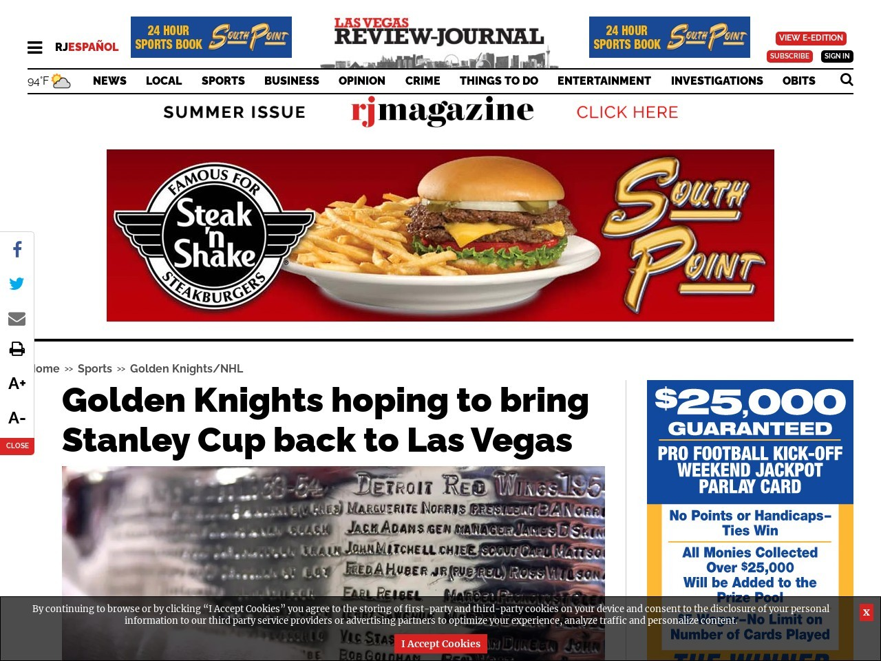 Golden Knights hoping to bring Stanley Cup back to Las Vegas